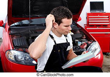 mecánico auto, con, tablet.