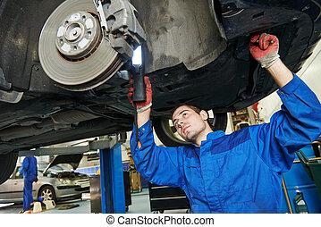 mecánico auto, en, coche, freno, shoes, eximining