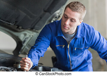 mecánico auto, trabajando, coche