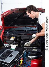 mecánico auto, verificar, oil.