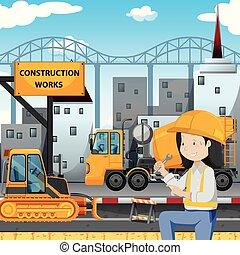mecánico, construcción, lado, ingeniero