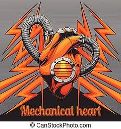 mecánico, corazón, fondo