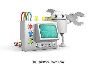 mecánico, device., robot, ilustración, 3d