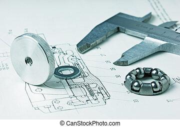 mecánico, esquema, y, calibrador