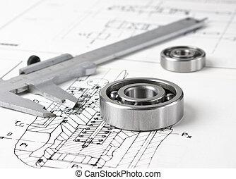 mecánico, esquema, y, cojinete