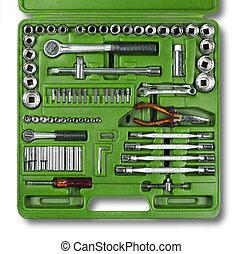 mecánico, herramientas, conjunto