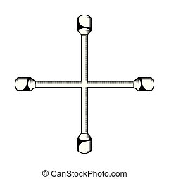 mecánico, pedazo, cruz, icono
