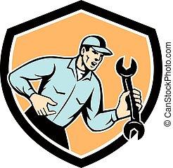 mecánico, protector, gritos, llave inglesa, tenencia, llave ...
