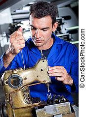 mecánico, reparación, industrial, máquina de coser