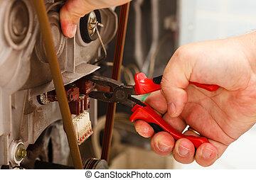 mecánico, reparación, lavado, machine.