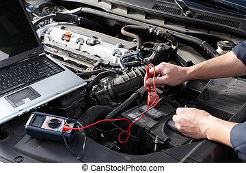 mecânico carro, trabalhando, em, auto repare, service.