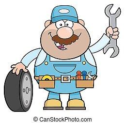mecânico, com, pneu, e, enorme, chave