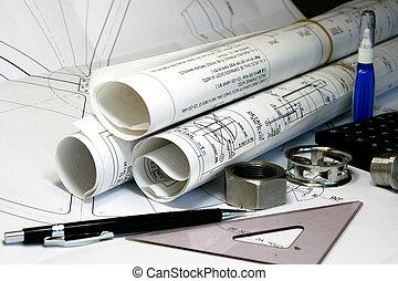 mecânico, engenharia, e, desenho