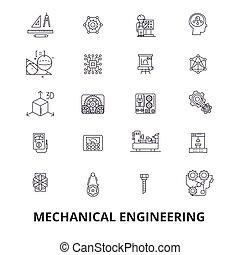 mecânico, engenharia, mecânico, elétrico, engrenagens, eletrônico, mecânico carro, linha, icons., editable, strokes., apartamento, desenho, vetorial, ilustração, símbolo, concept., linear, sinais, isolado