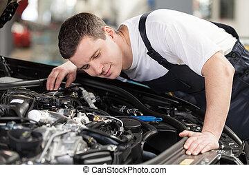 mecânico motor, trabalhando, automático, confiante, escutar, car, mechanic.