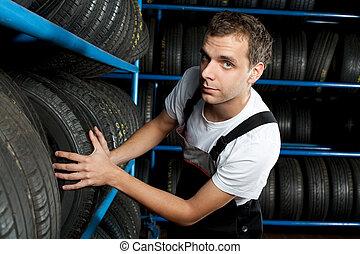 mecânico, pneu, serviço, car, jovem, escolher