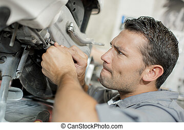 mecânico, reparar, um, motor