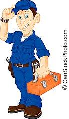 mecânico, segurando, utilidade, caixa