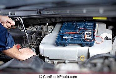 mecânico, trabalhando, em, auto repare, garagem