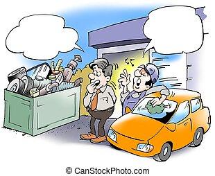 mecanic, afvalmateriaal, van, oud, auto's