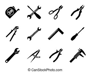 mecanica, doze, industrial, ferramentas, engenharia, mão, cores, jogo, pretas, branca, construção