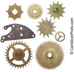mecanismo, conjunto, engranajes, reloj