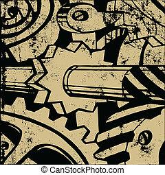 mecanismo, en, viejo, papel, vector, ilustración