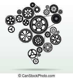 mecanismo, fundo, gearwheel