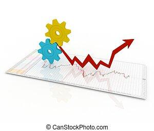 mecanismo, negócio, gráficos