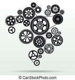 mecanismo, plano de fondo, gearwheel