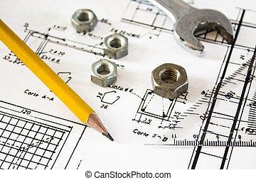 mecanismos, detalle, dibujos, plano de fondo, herramientas, ingeniero
