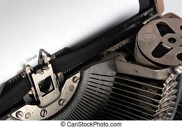 mecanografía, ángulo, máquina de escribir, noticias, vista