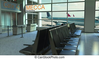 Mecca flight boarding now in the airport terminal. Travelling to Saudi Arabia conceptual 3D rendering