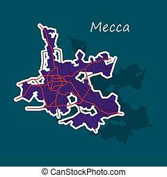 Mecca map Saudi Arabia, Sticker illustration.