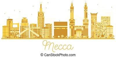 Mecca Saudi Arabia City skyline golden silhouette.