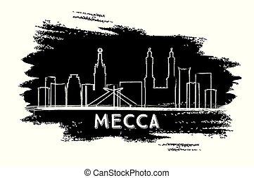 Mecca Saudi Arabia City Skyline Silhouette. Hand Drawn Sketch.