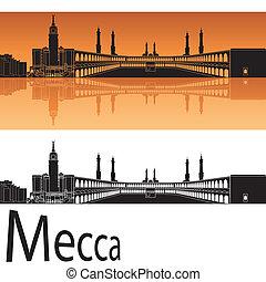 Mecca skyline in orange background in editable vector file