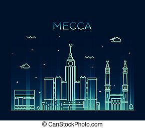Mecca skyline Trendy vector illustration linear - Mecca...