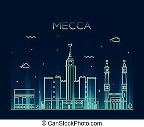 Mecca skyline Trendy vector illustration linear - Mecca ...