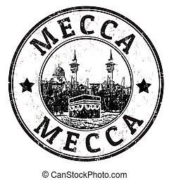 Mecca stamp - Black grunge rubber stamp with the name of...