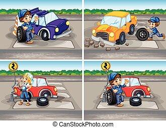 meccanica, incidente automobile, scene, rotto