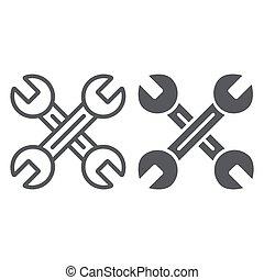 meccanico, attrezzo, lineare, segno, auto, wrenches, fondo., vettore, attraversato, chiave, modello, grafica, icona, linea, bianco, glyph