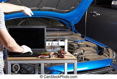 meccanico automobile, lavorando, veicolo
