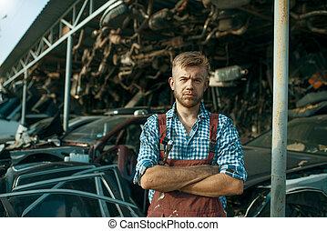 meccanico, automobili, junkyard, maschio, pila