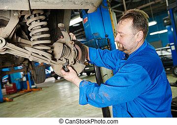 meccanico automobilistico, a, automobile, sospensione, riparazione, lavoro