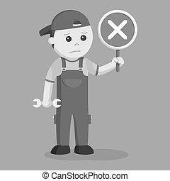 meccanico, con, crosswise, segno, indicare, fallito, riparazione
