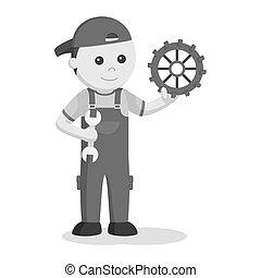 meccanico, con, strappare, e, ingranaggio