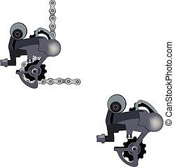 meccanico, gearbox, catena bicicletta