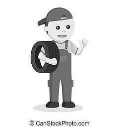meccanico, portante, pneumatico, illustrazione, disegno