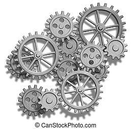 meccanismo, astratto, bianco, isolato, ingranaggi